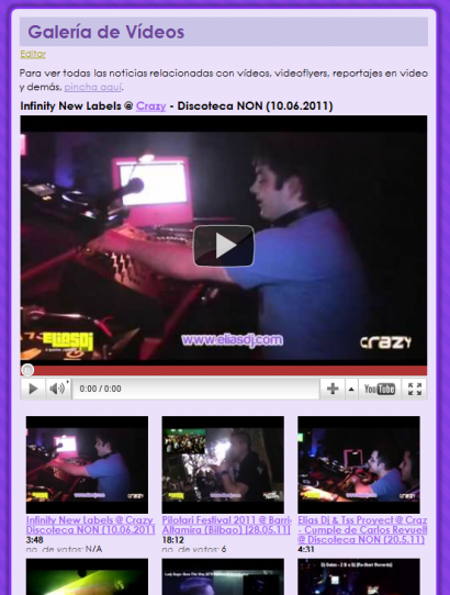 Captura de la sección de vídeos