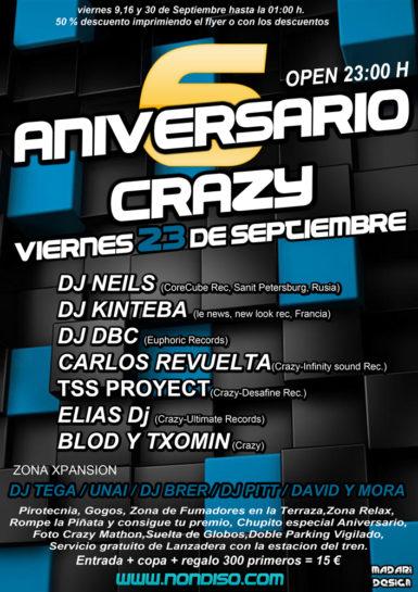 Flyer 6º Aniversario Crazy
