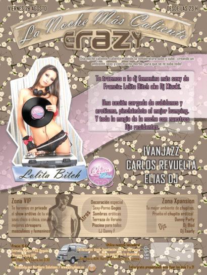 Cartel de la fiesta La noche mas caliente @ Crazy