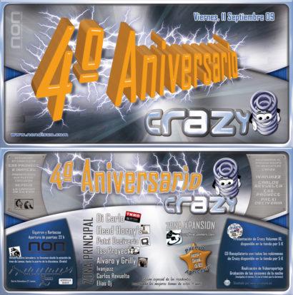 Flyer o cartel de la fiesta 4º Aniversario Crazy