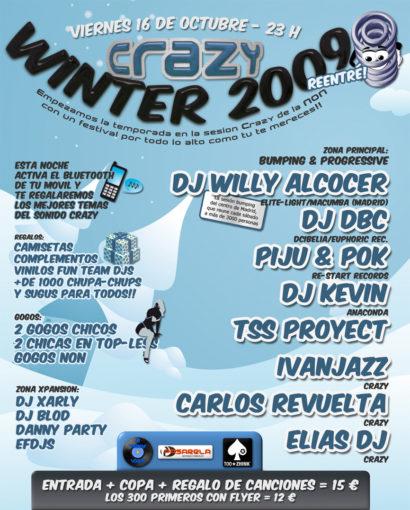 Cartel de la fiesta Crazy Winter 2009 (Reentré)