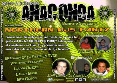 Flyer o cartel de la fiesta Northern Djs Party @ Anaconda