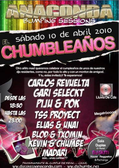 Flyer o cartel de la fiesta El Chumbleaños @ Anaconda