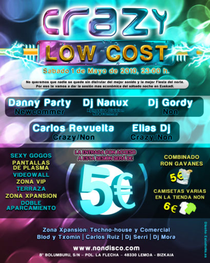 Cartel de la fiesta Crazy Low Cost