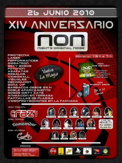 Flyer o cartel de la fiesta 14 Aniversario NON