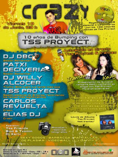 Flyer Crazy Non 20100618 10 años de Bumping con Tss Proyect