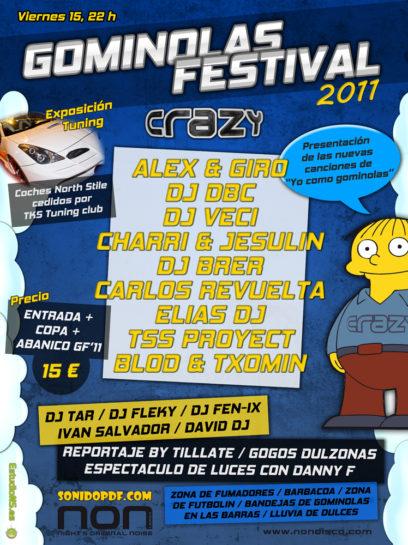 Cartel de la fiesta Gominolas Festival 2011 @ Crazy
