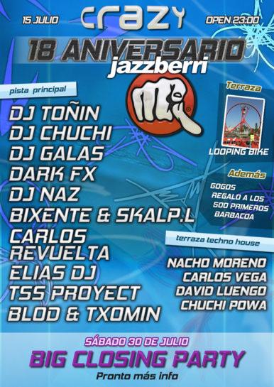 Cartel de la fiesta 18 Aniversario Jazzberri @ Crazy