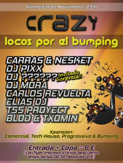 Cartel de la fiesta Locos por el Bumping @ Crazy