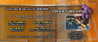 Flyer o cartel de la fiesta Crazy Boxing @ NON
