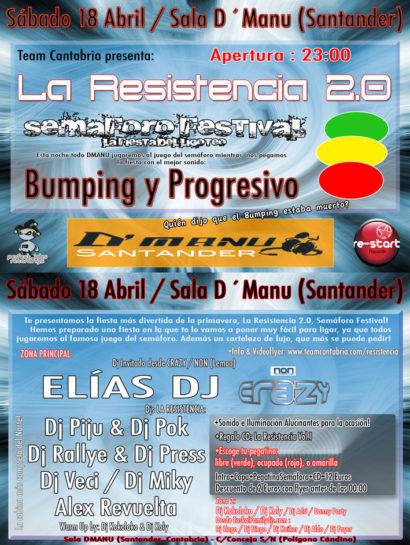 Flyer o cartel de la fiesta La Resistencia 2.0 @ DManu