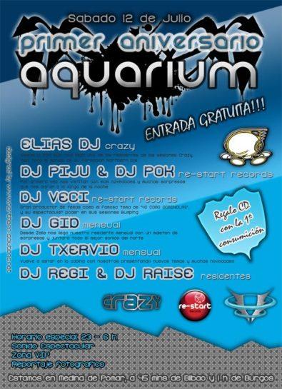 Flyer o cartel de la fiesta 1er Aniversario Aquarium
