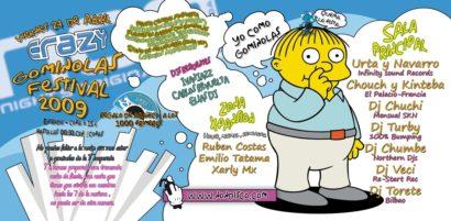 Flyer o cartel de la fiesta Gominolas Festival 09 @ Crazy