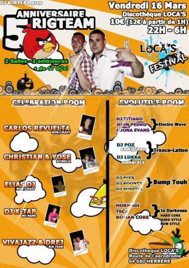 Flyer o cartel de la fiesta 5º Aniversario Rig Team @ Loca