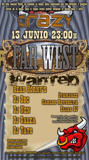 Flyer o cartel de la fiesta Crazy Far West