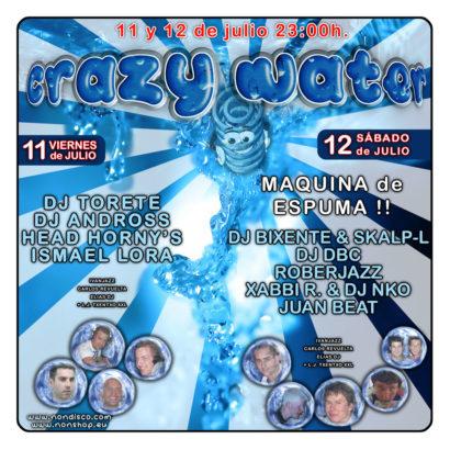Flyer o cartel de la fiesta Crazy Water 08 @ Non