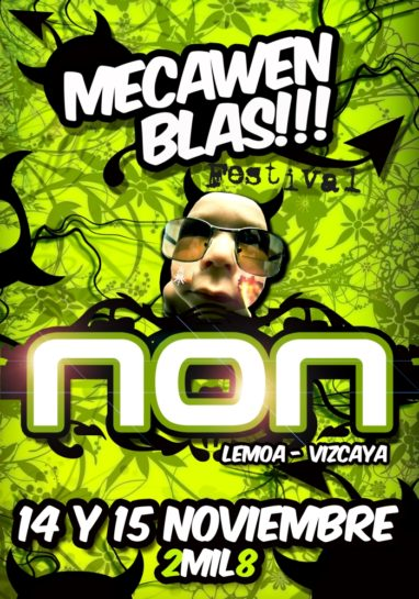 Flyer o cartel de la fiesta MeCawen Blas Festival 08