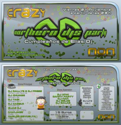 Cartel de la fiesta Northern Djs Party @ Crazy (Cumpleaños Elias Dj)