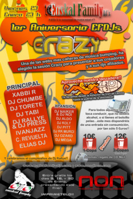 Cartel de la fiesta 1er Aniversario EuskalFamilyDjs @ Crazy