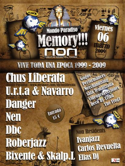 Cartel de la fiesta Mondo Paradiso Memory @ Crazy