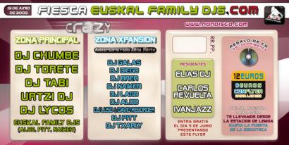 Flyer o cartel de la fiesta Fiesta EuskalFamilyDJs @ Crazy