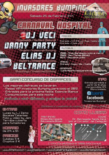 Cartel de la fiesta Invasores Bumping pres. Hospital Carnaval @ Limbo
