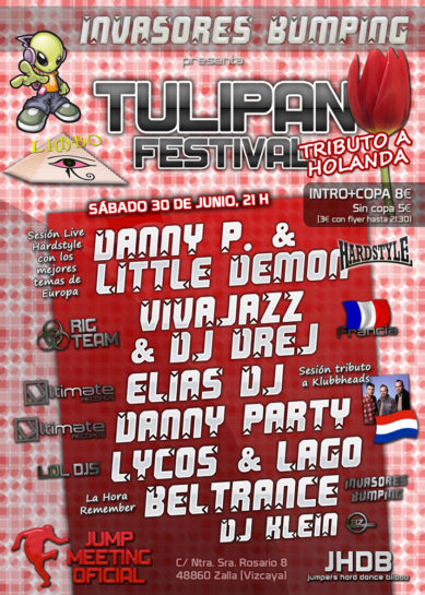 Flyer o cartel de la fiesta Invasores Bumping pres. Tulipan Festival @ Limbo