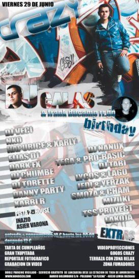 Flyer 2012.06.29 Cumpleaños Dj Galas Frank Ducamp @ Crazy