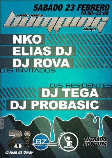 Cartel de la fiesta NKO, Elias Dj y Dj Rova @ Androides Bumping Days