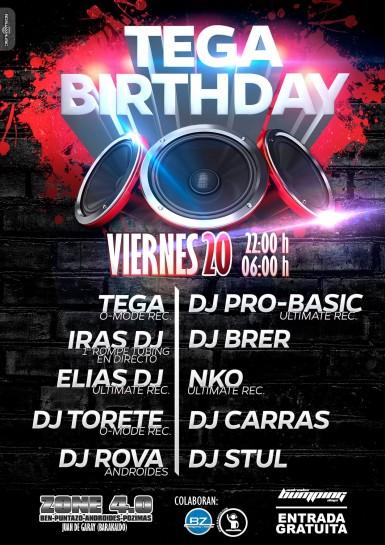 Flyer o cartel de la fiesta Tega Birthday @ Androides