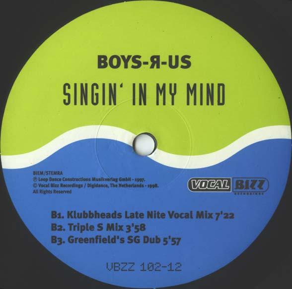 Imagen representativa del temazo Boys-R-Us – Singin´ In My Mind 98 (Klubbheads Late Nite Vocal Mix)