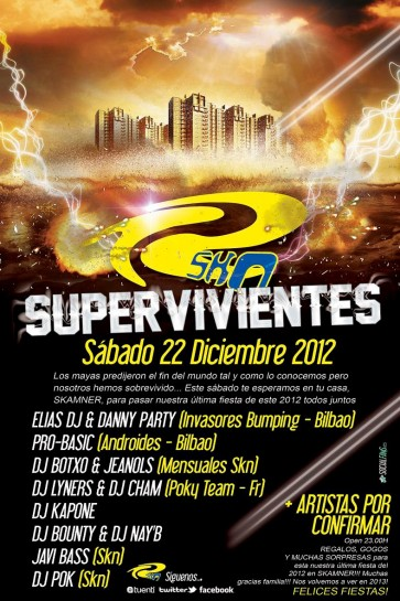 Flyer o cartel de la fiesta Supervivientes @ SKN