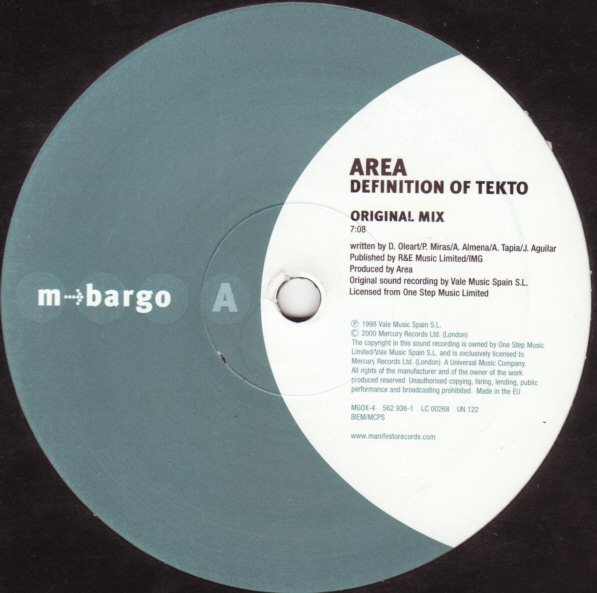 Imagen representativa del temazo Area – Definition of Tekto