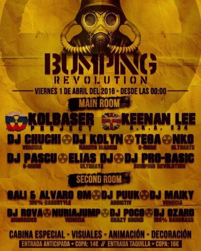 Flyer o cartel de la fiesta Bumping Revolution @ Anaconda