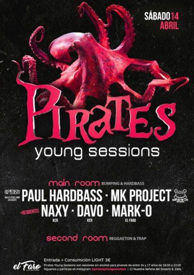 Flyer o cartel de la fiesta Inauguración Pirates @El Faro