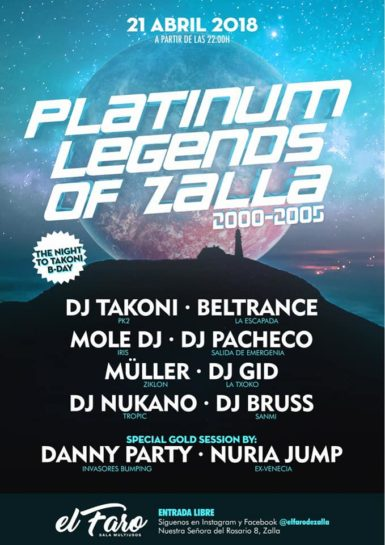 Flyer o cartel de la fiesta Platinum Legends of Zalla @ El Faro