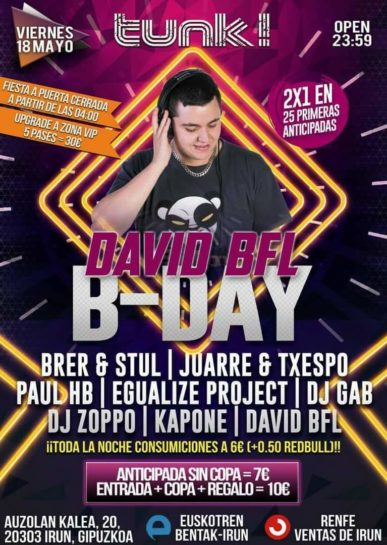 Cartel de la fiesta Dabid BFL B-Day @ Tunk