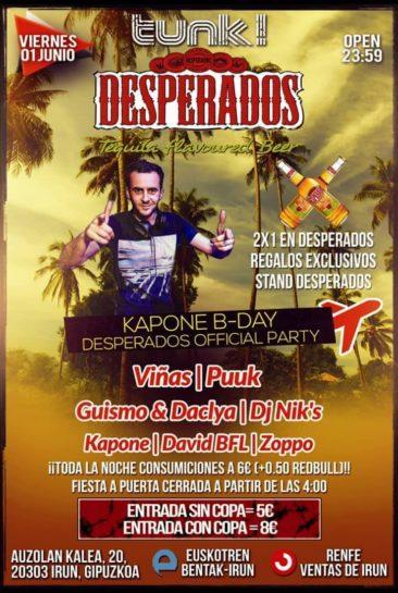 Flyer o cartel de la fiesta Kapone B-day @ Tunk