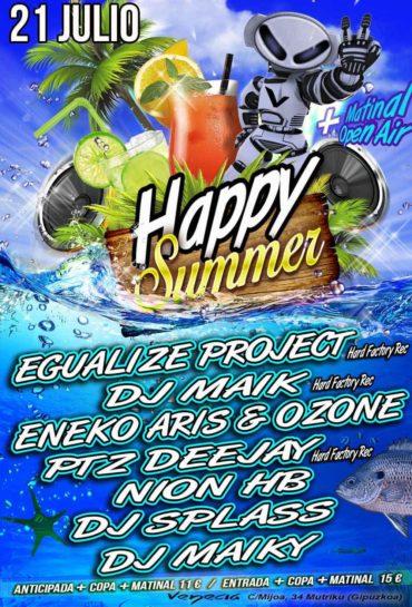 Flyer o cartel de la fiesta Happy Summer 2018 @Venecia