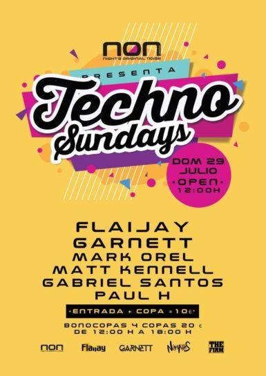 Flyer o cartel de la fiesta Techno Sundays @ NON