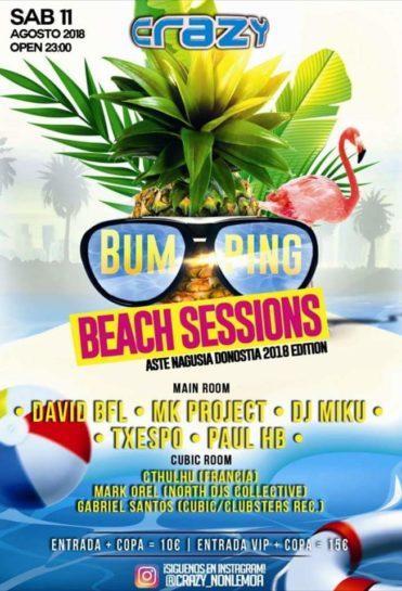 Flyer o cartel de la fiesta Bumping Beach Sessions @ Crazy