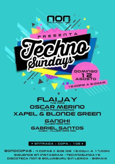 Cartel de la fiesta Techno Sundays @ NON (12 Agosto 2018)