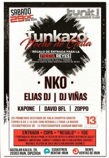 Flyer o cartel de la fiesta Noche de gala @ Tunk