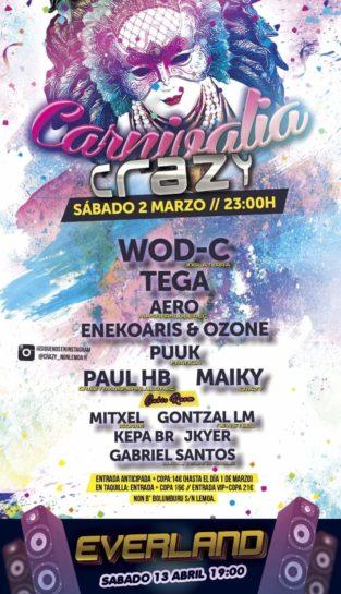 Cartel de la fiesta Carnivalia Crazy 2019 @ NON