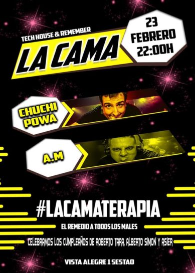 Cartel de la fiesta La Cama (23 Febrero 2019)