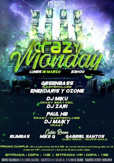 Flyer o cartel de la fiesta Crazy Monday @ NON