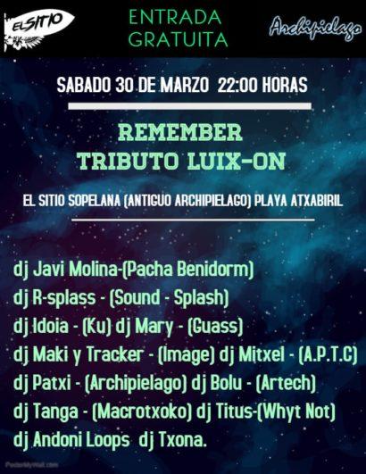 Cartel de la fiesta Remember Tributo Luix-On @ El Sitio