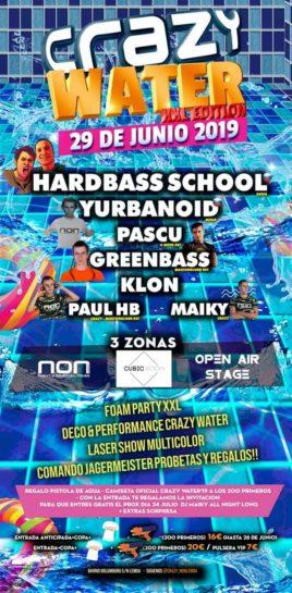 Flyer o cartel de la fiesta Crazy Water 2019 (XXL Edition) @ NON