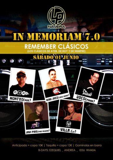 Flyer o cartel de la fiesta In Memoriam 7.0 en LP Najera