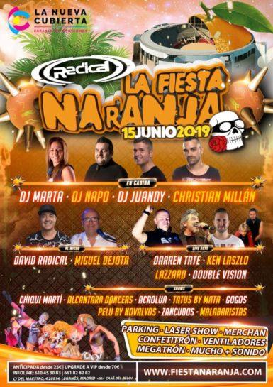 Cartel de la fiesta Radical La Fiesta Naranja 2019 @ La Cubierta